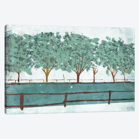 Trees and Fences Canvas Print #ORE6} by On Rei Art Print