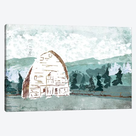 Barn in the Trees Canvas Print #ORE7} by On Rei Canvas Art Print