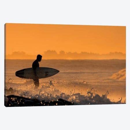 Surfer At Dawn Canvas Print #ORI35} by David Orias Canvas Print