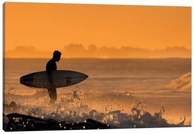 Surfer At Dawn Canvas Art Print