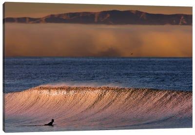 Surfer Wave and Fog Canvas Art Print