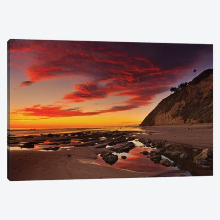 Califoria Beach at Sunset Canvas Print #ORI9} by David Orias Canvas Wall Art