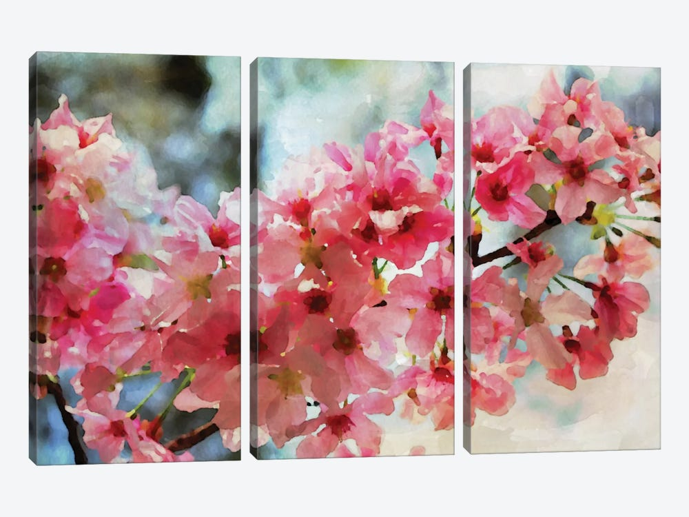 Cherry Flowers III by Irena Orlov 3-piece Canvas Artwork