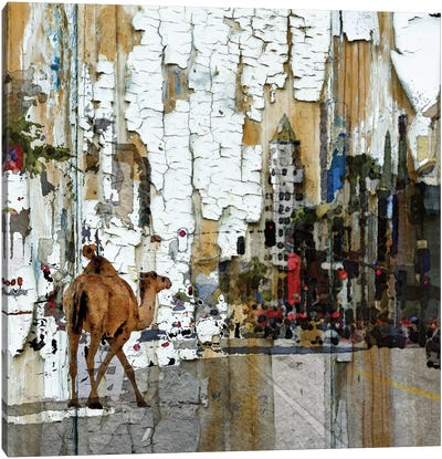 Camel In The City Canvas Art Print