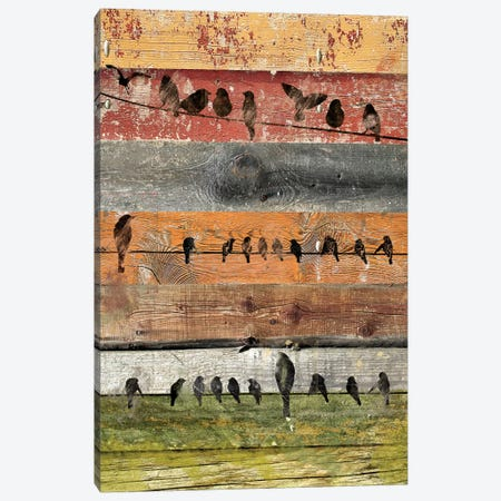 Birds on Wood I Canvas Print #ORL171} by Irena Orlov Canvas Artwork
