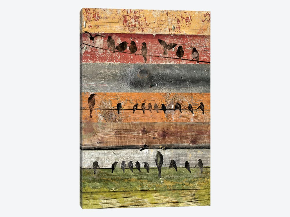 Birds on Wood I by Irena Orlov 1-piece Canvas Wall Art
