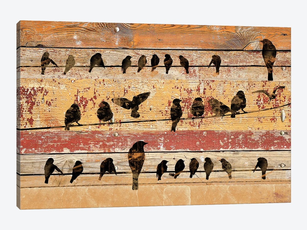 Birds on Wood V by Irena Orlov 1-piece Canvas Wall Art