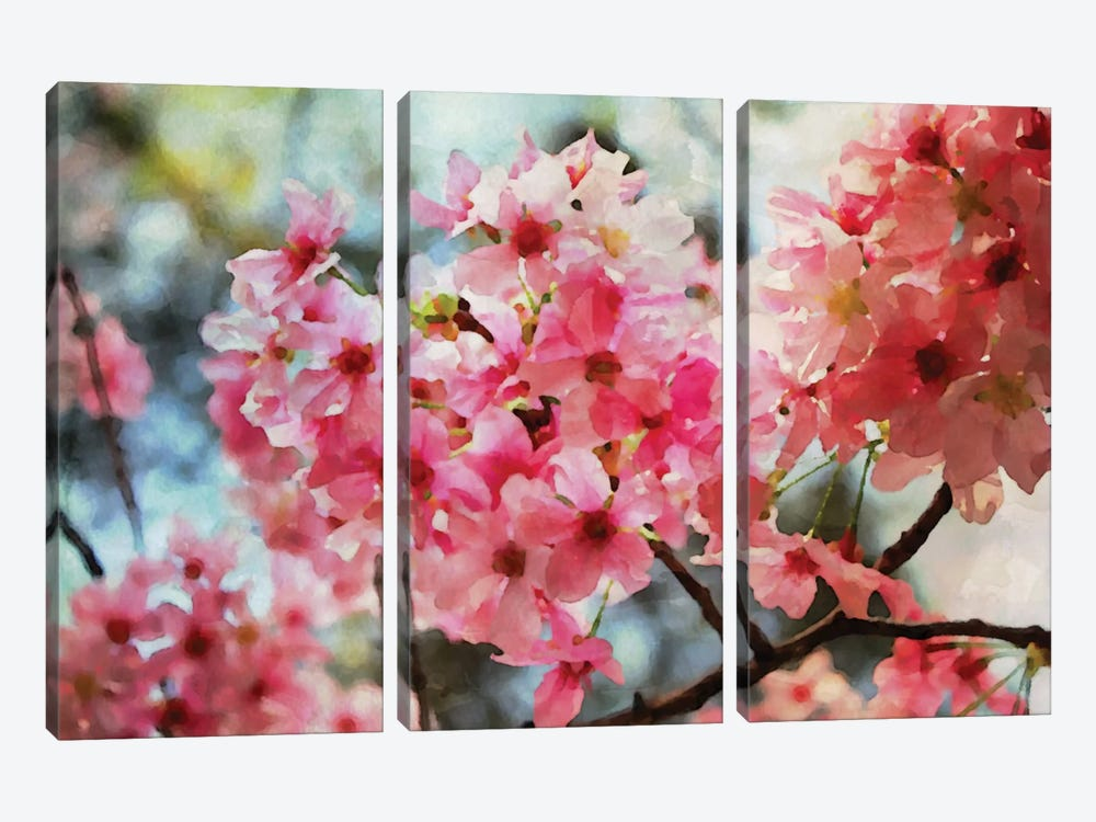 Cherry Flowers IV by Irena Orlov 3-piece Canvas Artwork