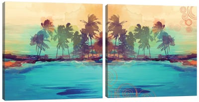 Palm Island Diptych Canvas Art Print