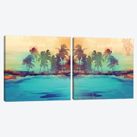Palm Island Diptych Canvas Print Set #ORL2HSET002} by Irena Orlov Canvas Wall Art