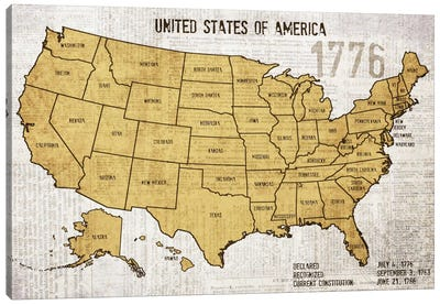 Map Of USA Canvas Art Print