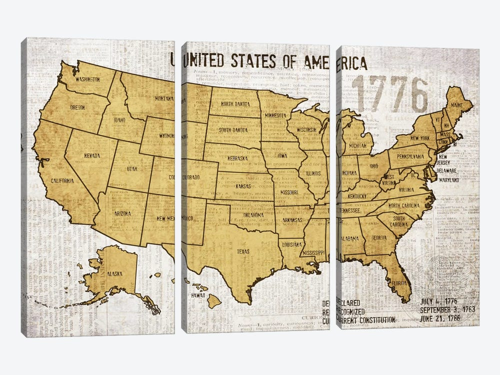 Map Of USA by Irena Orlov 3-piece Canvas Print
