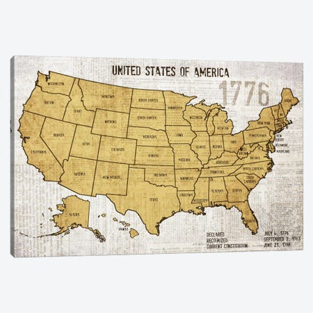Map Of USA 3-Piece Canvas #ORL32} by Irena Orlov Art Print