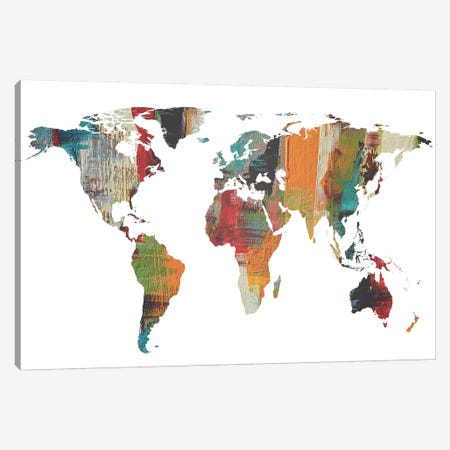 Painted World Map II Canvas Print #ORL373} by Irena Orlov Canvas Wall Art