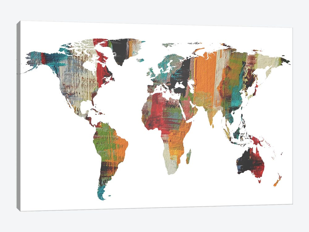 Painted World Map II by Irena Orlov 1-piece Canvas Print