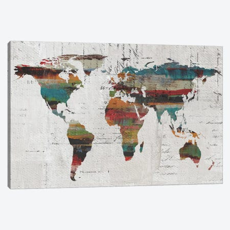 Painted World Map IV Canvas Print #ORL39} by Irena Orlov Canvas Print