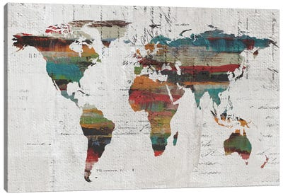 Painted World Map IV Canvas Art Print