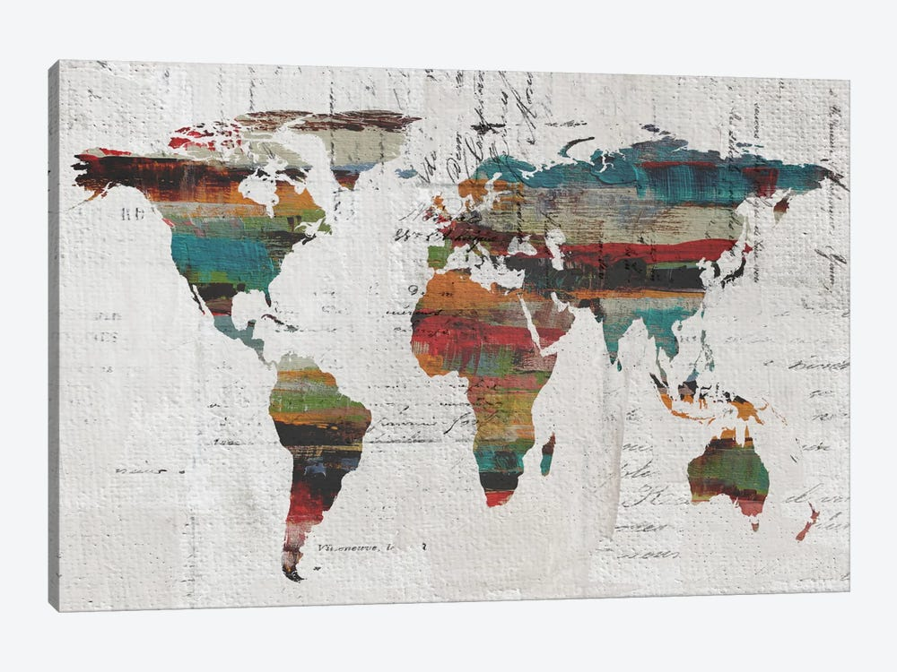 Painted World Map IV by Irena Orlov 1-piece Canvas Artwork