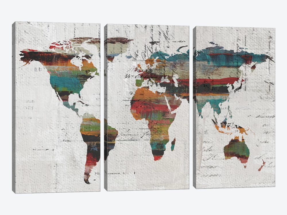 Painted World Map IV by Irena Orlov 3-piece Canvas Art
