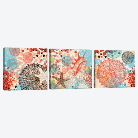 Exotic Sea Life Triptych Canvas Print Set #ORL3HSET001} by Irena Orlov Canvas Wall Art