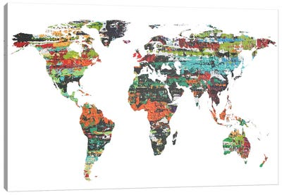 Painted World Map V Canvas Art Print