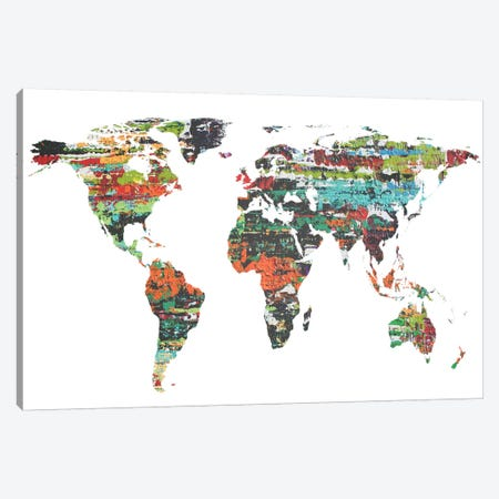 Painted World Map V Canvas Print #ORL40} by Irena Orlov Canvas Art