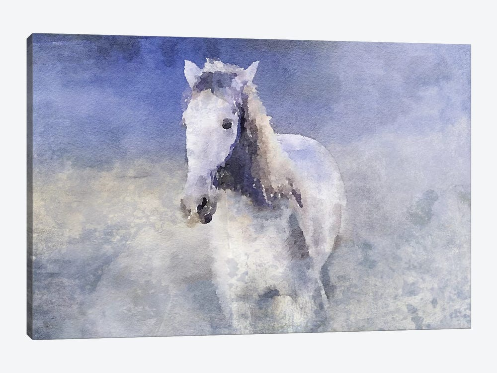 White Running Horse In The Fog by Irena Orlov 1-piece Canvas Wall Art