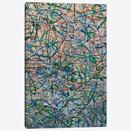 Gold Aqua Jackson Pollock Inspired III Canvas Print #ORL502} by Irena Orlov Canvas Art Print