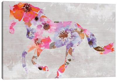 Colorful Floral Horse Painting V Canvas Art Print