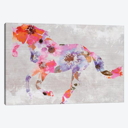 Colorful Floral Horse Painting V Canvas Print #ORL548} by Irena Orlov Canvas Print