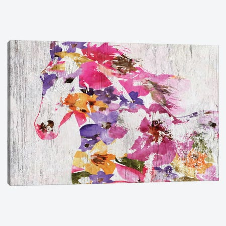 Floral Farm Horse Canvas Print #ORL553} by Irena Orlov Canvas Wall Art