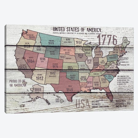 The United States Of America Map III Canvas Print #ORL57} by Irena Orlov Canvas Artwork