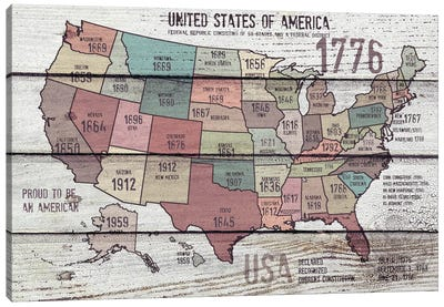 The United States Of America Map III Canvas Art Print