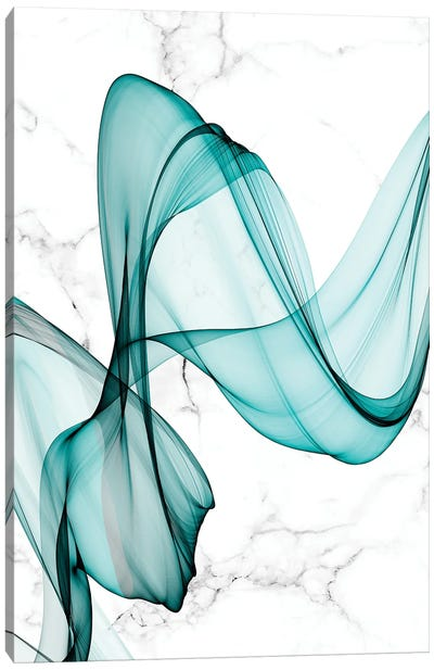Teal Ribbons III Canvas Art Print