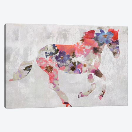 Colorful Floral Horse Painting Canvas Print #ORL610} by Irena Orlov Canvas Art Print