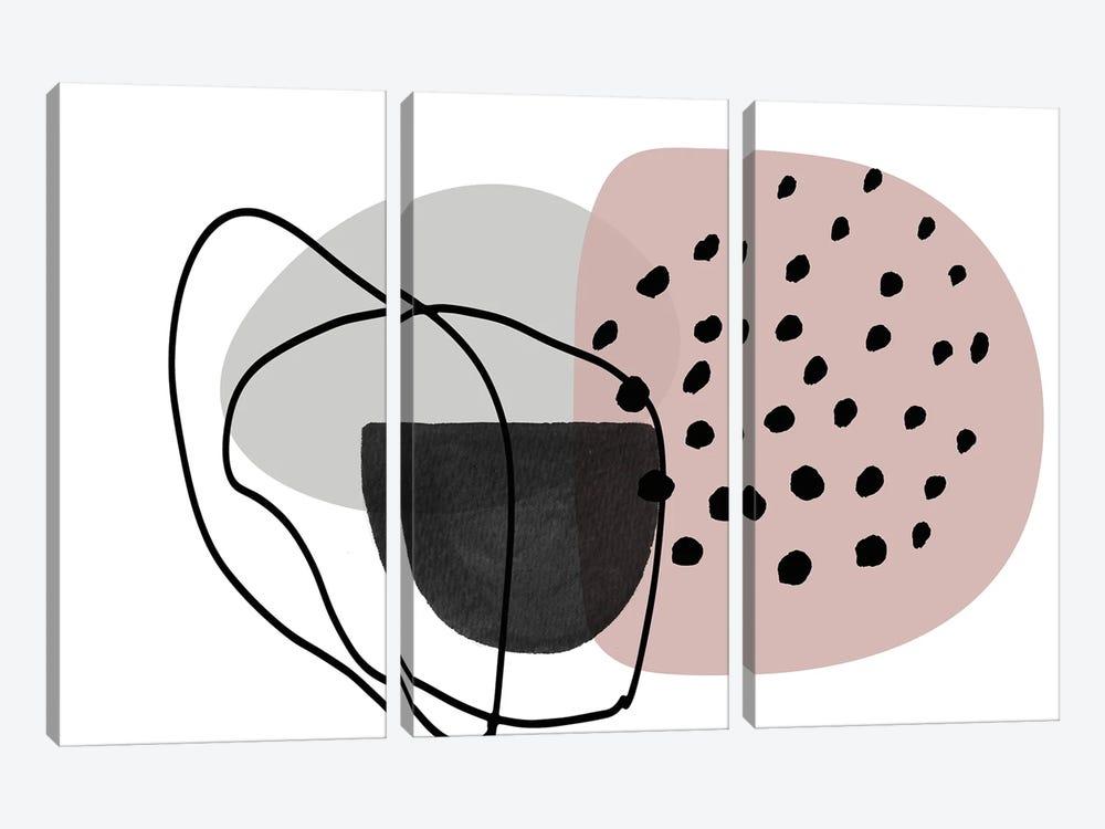 Pink Lines Minimalism by Irena Orlov 3-piece Canvas Print