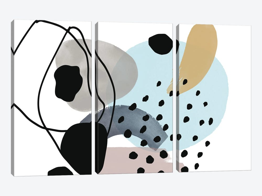 Pink Blue Yellow Lines Minimalism by Irena Orlov 3-piece Art Print