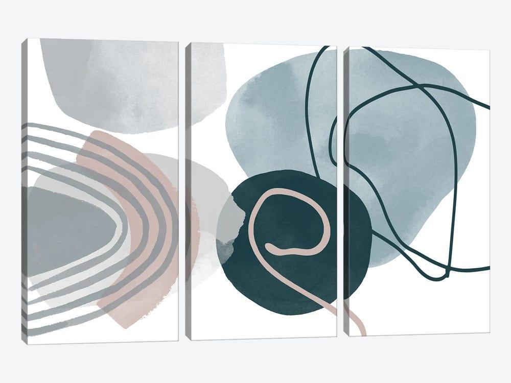 Blue Lines Minimalism I by Irena Orlov 3-piece Canvas Artwork