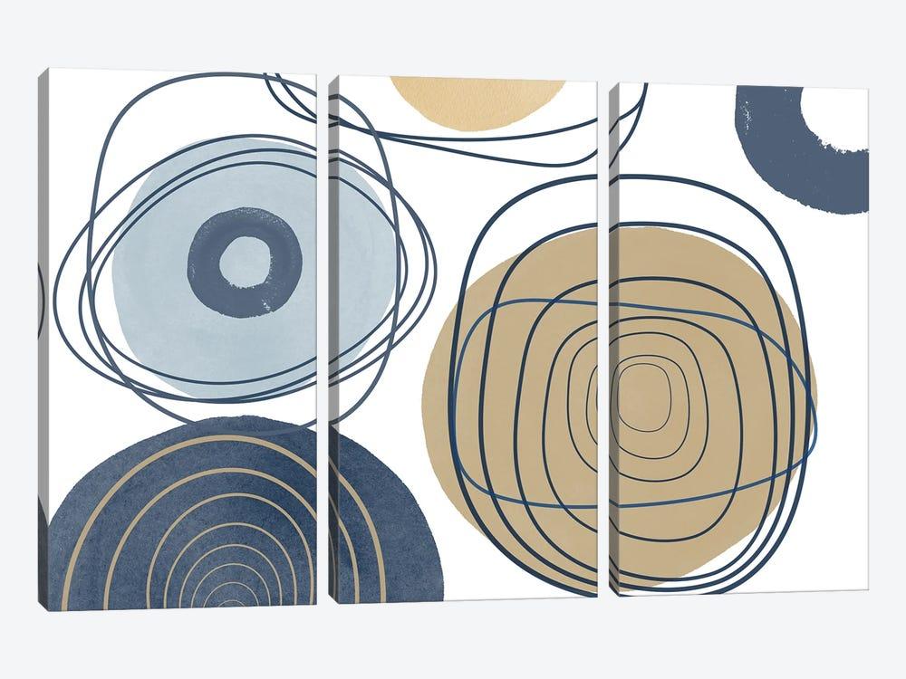 Blue Lines Minimalism II by Irena Orlov 3-piece Art Print