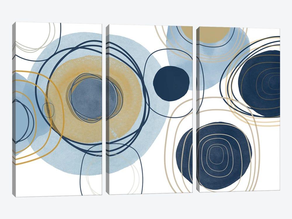 Blue Lines Minimalism III by Irena Orlov 3-piece Art Print