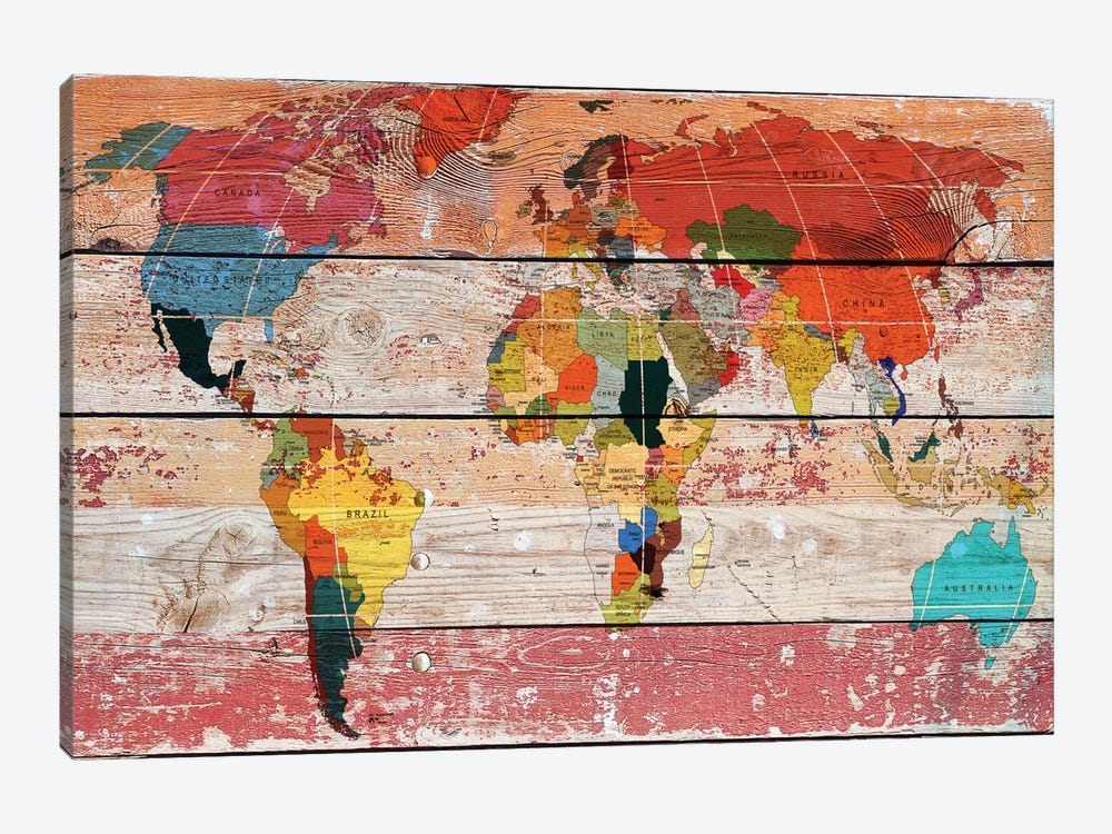 World Map 1-piece Canvas Print