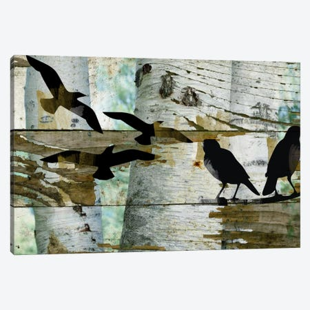 Birds On A Birch II Canvas Print #ORL70} by Irena Orlov Art Print