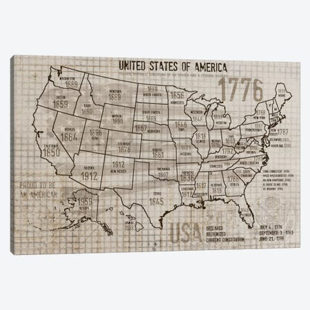 Map Of USA II Canvas Print #ORL89} by Irena Orlov Canvas Art