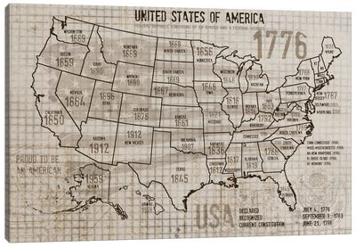 Map Of USA II Canvas Art Print