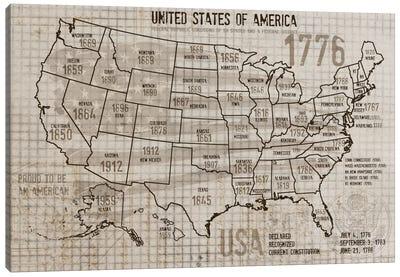 Map Of USA II Canvas Art Print