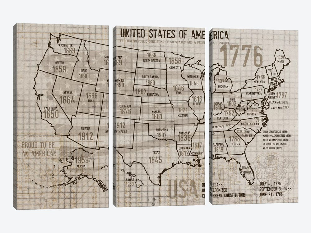 Map Of USA II by Irena Orlov 3-piece Canvas Print