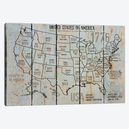 Map Of USA VII Canvas Print #ORL90} by Irena Orlov Canvas Print