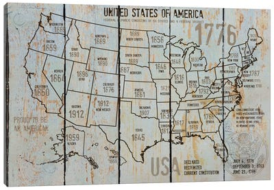 Map Of USA VII Canvas Print #ORL90