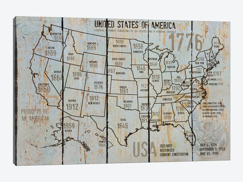 Map Of USA VII by Irena Orlov 1-piece Canvas Art Print