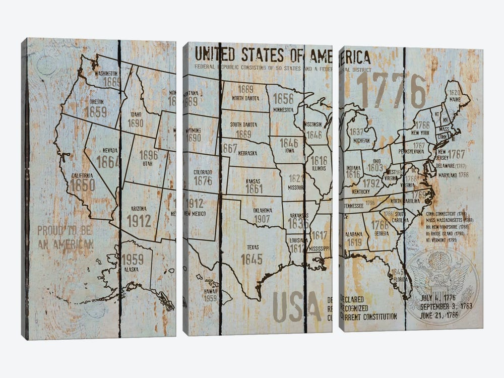 Map Of USA VII by Irena Orlov 3-piece Canvas Art Print